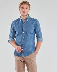 Oblečenie Muži Košele s dlhým rukávom Polo Ralph Lauren CHEMISE CINTREE SLIM FIT EN JEAN DENIM BOUTONNE LOGO PONY PLAYER Modrá / Denim