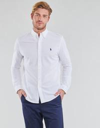 Oblečenie Muži Košele s dlhým rukávom Polo Ralph Lauren CHEMISE AJUSTEE COL BOUTONNE EN POLO FEATHERWEIGHT LOGO PONY PLA Biela