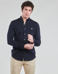 Oblečenie Muži Košele s dlhým rukávom Polo Ralph Lauren CHEMISE AJUSTEE COL BOUTONNE EN POLO FEATHERWEIGHT LOGO PONY PLA Námornícka modrá