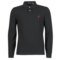 Oblečenie Muži Polokošele s dlhým rukávom Polo Ralph Lauren POLO AJUSTE DROIT EN COTON BASIC MESH LOGO PONY PLAYER Čierna