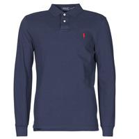 Oblečenie Muži Polokošele s dlhým rukávom Polo Ralph Lauren POLO AJUSTE DROIT EN COTON BASIC MESH LOGO PONY PLAYER Námornícka modrá