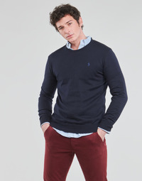 Oblečenie Muži Svetre Polo Ralph Lauren PULL COL ROND AJUSTE EN COTON PIMA LOGO PONY PLAYER Modrá
