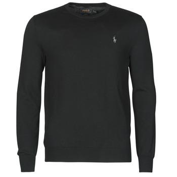 Oblečenie Muži Svetre Polo Ralph Lauren PULL COL ROND AJUSTE EN COTON PIMA LOGO PONY PLAYER Čierna