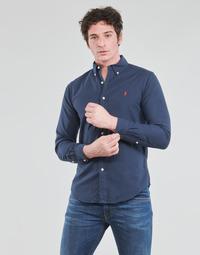Oblečenie Muži Košele s dlhým rukávom Polo Ralph Lauren CHEMISE CINTREE SLIM FIT EN OXFORD LEGER TYPE CHINO COL BOUTONNE Námornícka modrá