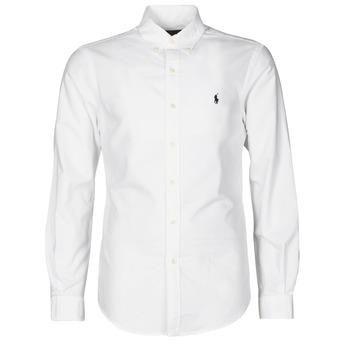 Oblečenie Muži Košele s dlhým rukávom Polo Ralph Lauren CHEMISE CINTREE SLIM FIT EN OXFORD LEGER TYPE CHINO COL BOUTONNE Biela