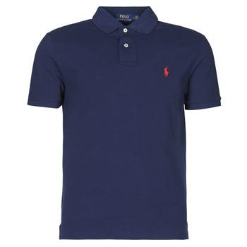 Oblečenie Muži Polokošele s krátkym rukávom Polo Ralph Lauren POLO AJUSTE DROIT EN COTON BASIC MESH LOGO PONY PLAYER Námornícka modrá