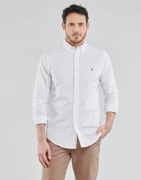 Oblečenie Muži Košele s dlhým rukávom Polo Ralph Lauren CHEMISE AJUSTEE EN OXFORD COL BOUTONNE  LOGO PONY PLAYER MULTICO Biela