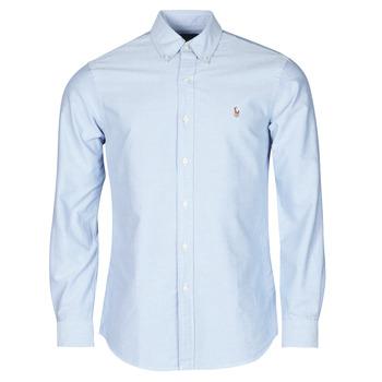 Oblečenie Muži Košele s dlhým rukávom Polo Ralph Lauren CHEMISE AJUSTEE EN OXFORD COL BOUTONNE  LOGO PONY PLAYER MULTICO Modrá