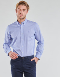 Oblečenie Muži Košele s dlhým rukávom Polo Ralph Lauren CHEMISE AJUSTEE EN POPLINE DE COTON COL BOUTONNE  LOGO PONY PLAY Modrá / Biela / Pásikový vzor