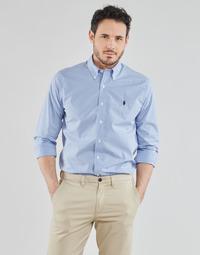 Oblečenie Muži Košele s dlhým rukávom Polo Ralph Lauren CHEMISE AJUSTEE EN POPLINE DE COTON COL BOUTONNE  LOGO PONY PLAY Modrá / Biela