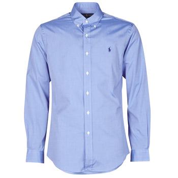 Oblečenie Muži Košele s dlhým rukávom Polo Ralph Lauren CHEMISE AJUSTEE EN POPLINE DE COTON COL BOUTONNE  LOGO PONY PLAY Modrá
