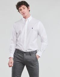 Oblečenie Muži Košele s dlhým rukávom Polo Ralph Lauren CHEMISE AJUSTEE EN POPLINE DE COTON COL BOUTONNE  LOGO PONY PLAY Biela