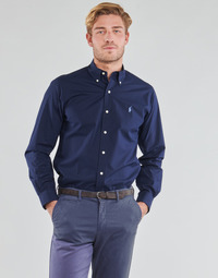 Oblečenie Muži Košele s dlhým rukávom Polo Ralph Lauren CHEMISE AJUSTEE EN POPLINE DE COTON COL BOUTONNE  LOGO PONY PLAY Námornícka modrá