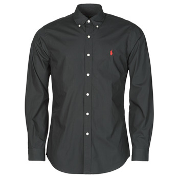 Oblečenie Muži Košele s dlhým rukávom Polo Ralph Lauren CHEMISE AJUSTEE EN POPLINE DE COTON COL BOUTONNE  LOGO PONY PLAY Čierna