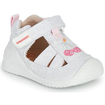 Topánky Dievčatá Sandále Biomecanics 212213 Strieborná / Biela
