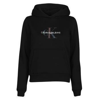 Oblečenie Ženy Mikiny Calvin Klein Jeans REFLECTIVE MONOGRAM HOODIE Čierna