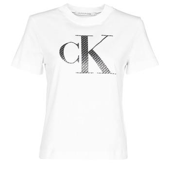 Oblečenie Ženy Tričká s krátkym rukávom Calvin Klein Jeans SATIN BONDED FILLED CK TEE Biela