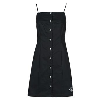 Oblečenie Ženy Krátke šaty Calvin Klein Jeans COTTON TWILL BUTTON DRESS Čierna