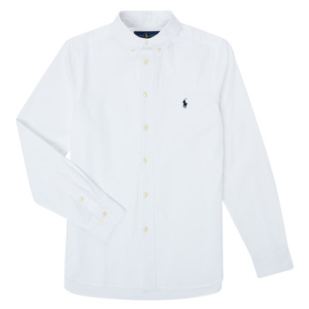 Oblečenie Chlapci Košele s dlhým rukávom Polo Ralph Lauren CAMIZA Biela