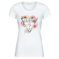 Oblečenie Ženy Tričká s krátkym rukávom Guess SS CN REBECCA TEE Biela / Viacfarebná