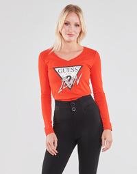 Oblečenie Ženy Tričká s dlhým rukávom Guess LS VN ICON TEE Červená
