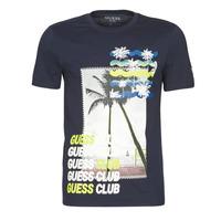 Oblečenie Muži Tričká s krátkym rukávom Guess GUESS CLUB CN SS TEE Námornícka modrá