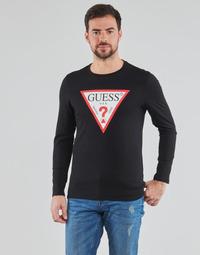 Oblečenie Muži Tričká s dlhým rukávom Guess CN LS ORIGINAL LOGO TEE Čierna