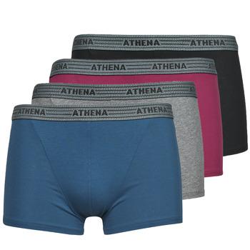 Spodná bielizeň Muži Boxerky Athena BASIC COTON  X4 Šedá / Bordová / Modrá / Čierna