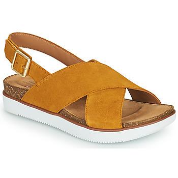 Topánky Ženy Sandále Clarks ELAYNE CROSS Žltá horčicová