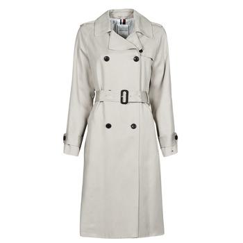 Oblečenie Ženy Kabátiky Trenchcoat Tommy Hilfiger DB LYOCELL FLUID TRENCH Béžová
