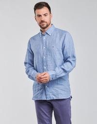 Oblečenie Muži Košele s dlhým rukávom Tommy Hilfiger PIGMENT DYED LINEN SHIRT Modrá