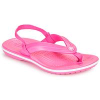 Topánky Dievčatá Žabky Crocs CROCBAND STRAP FLIP K Ružová