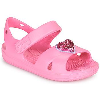 Topánky Dievčatá Sandále Crocs CLASSICCROSSSTRAPCHARMSANDAL T Ružová