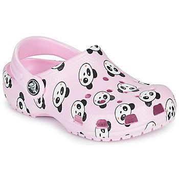 Topánky Dievčatá Nazuvky Crocs CLASSIC PANDA PRINT CLOG K Ružová / Panda