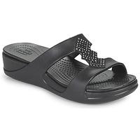 Topánky Ženy Šľapky Crocs CROCSMONTEREYSHIMMERSLPONWDG W Čierna