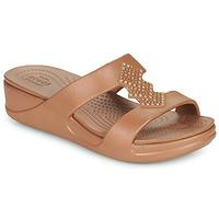 Topánky Ženy Šľapky Crocs CROCSMONTEREYSHIMMERSLPONWDG W Bronzová
