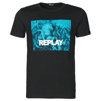 Oblečenie Muži Tričká s krátkym rukávom Replay M3412-2660 Čierna / Modrá