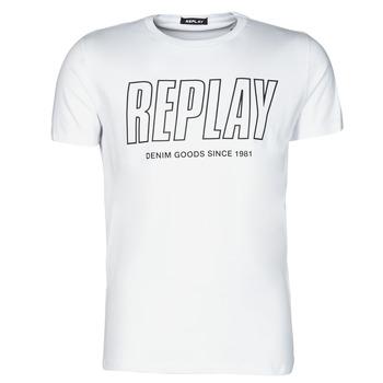 Oblečenie Muži Tričká s krátkym rukávom Replay  Biela