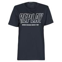 Oblečenie Muži Tričká s krátkym rukávom Replay  Námornícka modrá