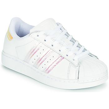 Topánky Dievčatá Nízke tenisky adidas Originals SUPERSTAR J Biela / Perleťový