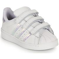 Topánky Dievčatá Nízke tenisky adidas Originals SUPERSTAR CF I Biela / Perleťový