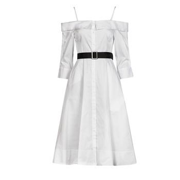 Oblečenie Ženy Dlhé šaty Karl Lagerfeld COLDSHOULDERSHIRTDRESS Biela