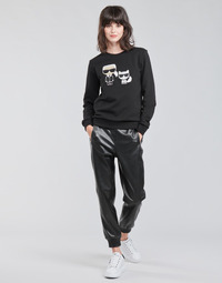Oblečenie Ženy Nohavice päťvreckové Karl Lagerfeld FAUXLEATHERJOGGERS Čierna