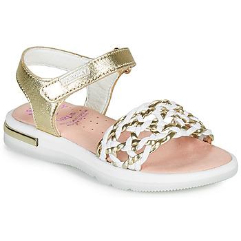 Topánky Dievčatá Sandále Pablosky DANIE Zlatá / Biela