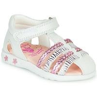 Topánky Dievčatá Sandále Pablosky ELLA Biela / Ružová