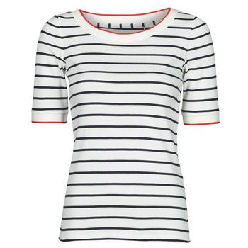 Oblečenie Ženy Tričká s krátkym rukávom Esprit RAYURES COL ROUGE Biela