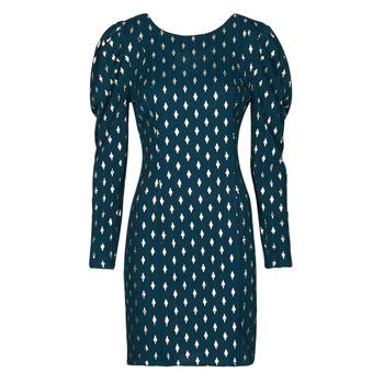 Oblečenie Ženy Krátke šaty Naf Naf HERMIONE R1 Námornícka modrá / Zlatá