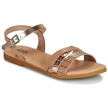 Topánky Dievčatá Sandále Citrouille et Compagnie OBINOU Svetlá hnedá / Zlatá