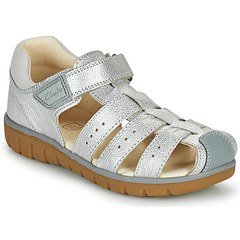 Topánky Dievčatá Sandále Clarks ROAM BAY K Strieborná