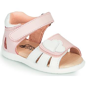 Topánky Dievčatá Sandále Citrouille et Compagnie OLESS Ružová / Biela